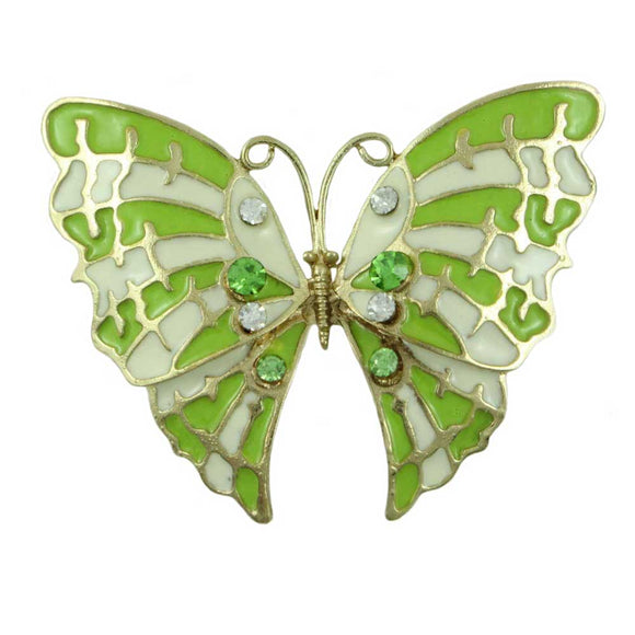 Lime Green and White Enamel and Crystal Butterfly Brooch Pin - Lilylin Designs