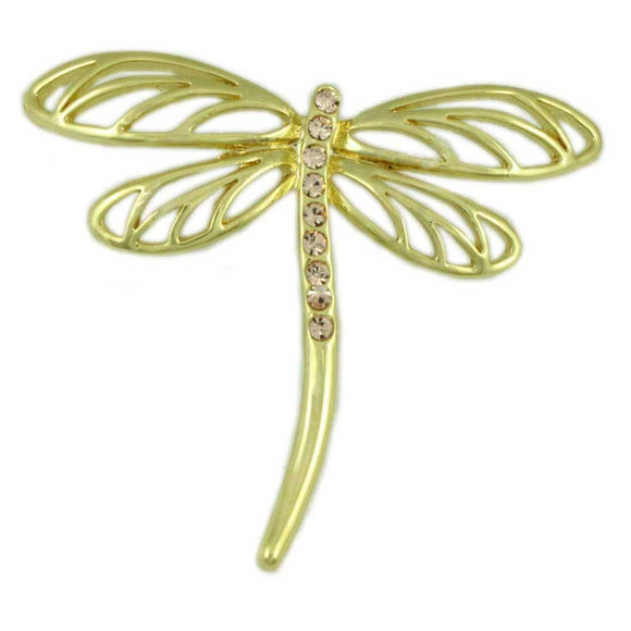 Tan Crystal Dragonfly Pin - Lilylin Designs