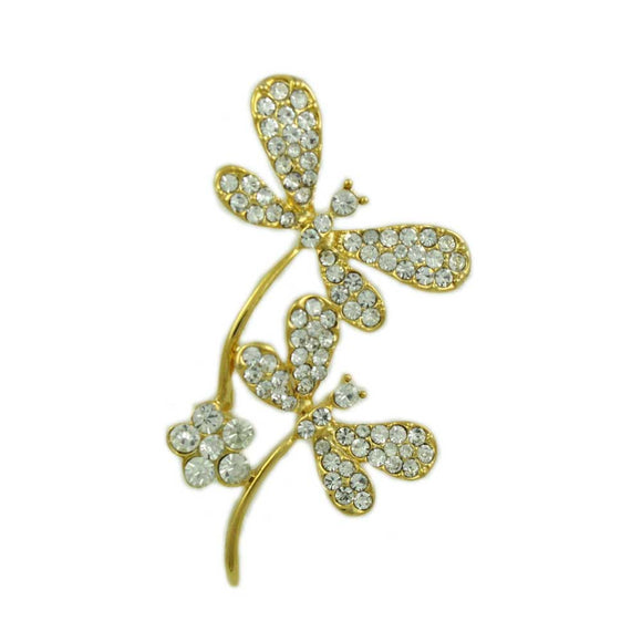 Gold-plated Pair of Clear Crystal Dragonflies Brooch Pin - Lilylin Designs