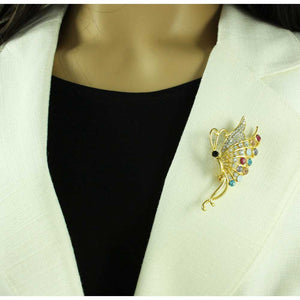 Model with Gold Profile Butterfly with Clear and Pastel Crystals Brooch Pin - Lilylin Designs
