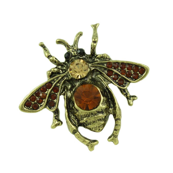 Antique Goldtone Brown Crystal Fly Pin - Lilylin Designs