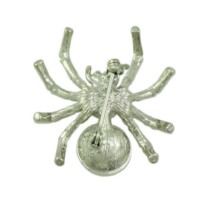 Silver-tone Spider with 2 Large Clear Crystal Body Brooch Pin (back) - Lilylin Designs