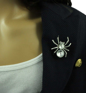 Model wearing Silver with Large Clear Crystal Spider Halloween Brooch Pin - Lilylin Designs