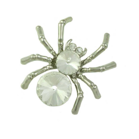 Silver-tone Spider with 2 Large Clear Crystal Body Brooch Pin - Lilylin Designs