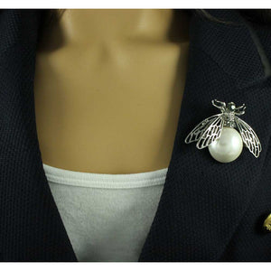 Model with Fly with Filigree Silver Wings and Large White Pearl Brooch Pin - Lilylin Designs