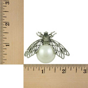 Fly with Filigree Silver Wings and Large White Pearl Brooch Pin (sized) - Lilylin Designs