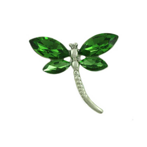 Dark Green Crystal Dragonfly Pin - Lilylin Designs