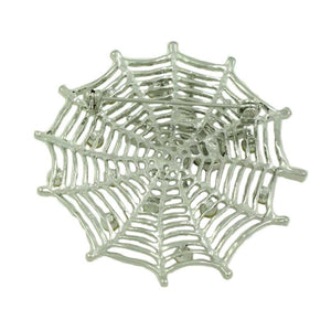 Silver-tone Crystal Web with Black Crystal Spider Brooch Pin (back) - Lilylin Designs