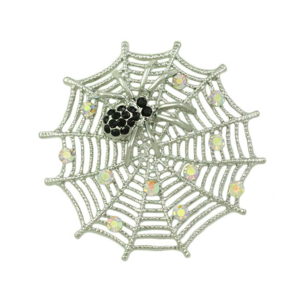 Silver-tone Crystal Web with Black Crystal Spider Brooch Pin - Lilylin Designs