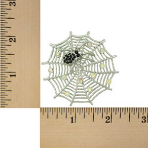 Silver-tone Crystal Web with Black Crystal Spider Brooch Pin (sized)  - Lilylin Designs