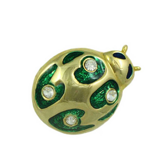 Green Enamel and Crystals Ladybug Brooch Pin - Lilylin Designs