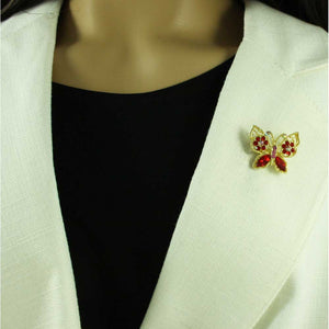 Model with Small Red Crystal Butterfly with Red Crystal Flowers Brooch Pin - Lilylin Designs