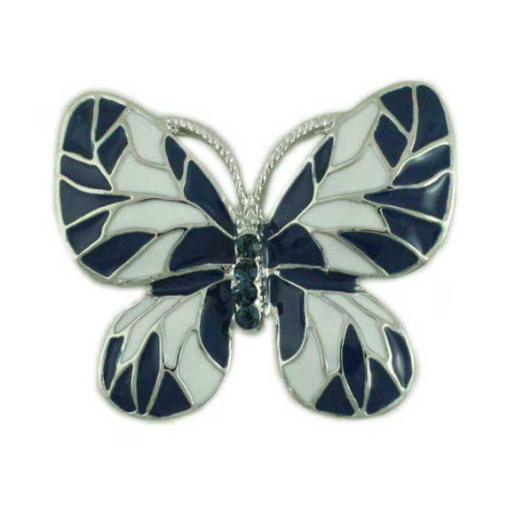 Navy Blue and White Enamel and Crystal Butterfly Brooch Pin - Lilylin Designs