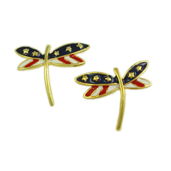 Enamel Patriotic Red, White, and Blue Dragonfly Pierced Earring - Lilylin Designs