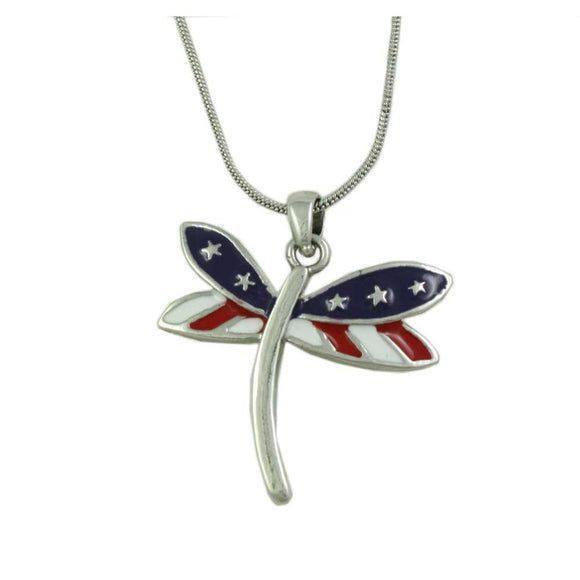 Red, White and Blue Patriotic Dragonfly Pendant with Silver-tone Chain - Lilylin Designs