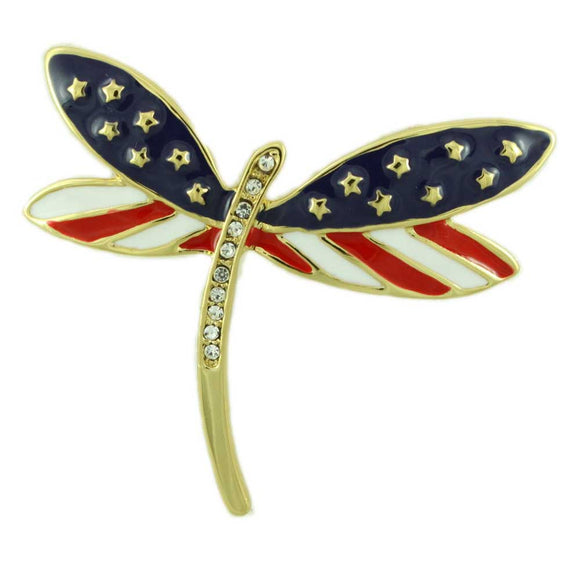 Enamel and Crystal Patriotic Dragonfly Pin - Lilylin Designs