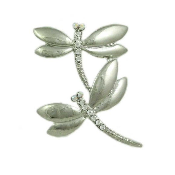 Silver-tone and Crystal Double Dragonflies Brooch Pin - Lilylin Designs