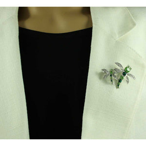 Model with Dark and Light Green Crystal Dragonfly Duo Brooch Pin - Lilylin Designs