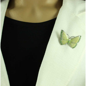 Model with Pearlized Cream Enamel and Green Crystal Butterfly Brooch Pin - Lilylin Designs