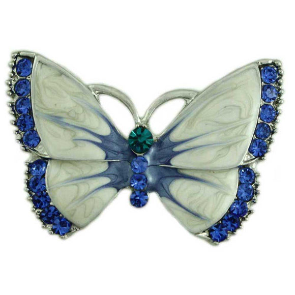 Pearlized Cream Enamel with Blue Crystal Trim Butterfly Brooch Pin - Lilylin Designs
