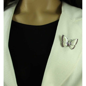 Model with Pearlized Cream Enamel and Purple Crystal Butterfly Brooch Pin - Lilylin Designs