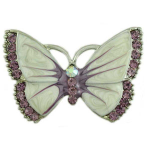Pearlized Cream Enamel and Purple Crystal Butterfly Brooch Pin - Lilylin Designs