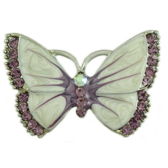 Cream Enamel and Purple Crystal Butterfly Pin - Lilylin Designs