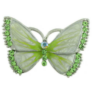 Pearlized Cream Enamel and Green Crystal Butterfly Brooch Pin - Lilylin Designs