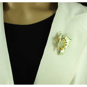 Model with Yellow and Green Enamel and Crystal Profile Butterfly Brooch Pin - Lilylin Designs