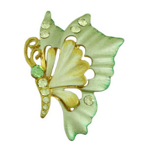 Yellow and Green Enamel and Crystal Profile Butterfly Brooch Pin - Lilylin Designs