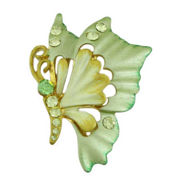 Yellow and Green Enamel Butterfly Pin - Lilylin Designs