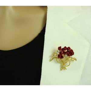 Model with Dozen Red Roses Bouquet Brooch Pin with Rose Bud Earring Gift Set (pin) - Lilylin Designs