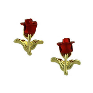 Dozen Red Roses Bouquet Brooch Pin with Rose Bud Earring Gift Set (er) - Lilylin Designs