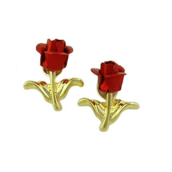 Red Rose Bud with Gold Stem and Leaves Stud Pierced Earring - Lilylin Designs