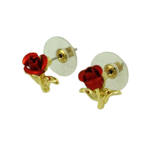 Red Rose Bud with Gold Stem and Leaves Stud Pierced Earring (side) - Lilylin Designs