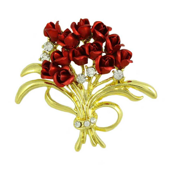 Bouquet of a Dozen Red Roses and Crystals Flower Brooch Pin - Lilylin Designs