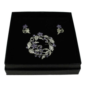 Purple Crystal Flower Wreath Pin with Earring Set - Lilylin Designs