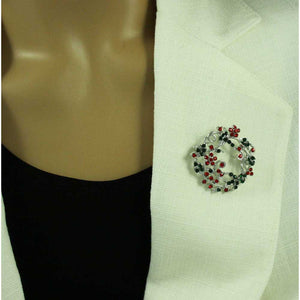 Model with Red and Green Crystal Daisy Christmas Wreath Brooch Pin - Lilylin Designs