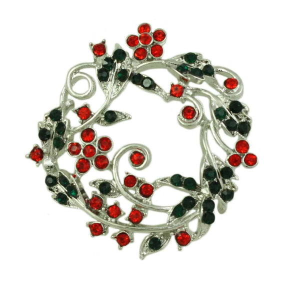 Red and Green Crystal Daisy Christmas Wreath Brooch Pin - Lilylin Designs