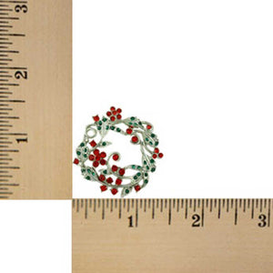 Red and Green Crystal Daisy Christmas Wreath Brooch Pin (sized) - Lilylin Designs