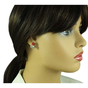 Model with Red Crystal Daisy with Green Crystal Leaf Christmas Earring - Lilylin Designs