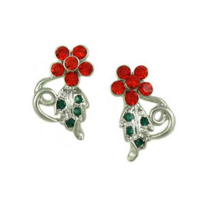 Red Crystal Daisy with Green Crystal Leaf Christmas Earring - Lilylin Designs