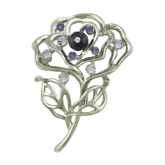 Open Rose with Purple Beads Pin - Lilylin Designs