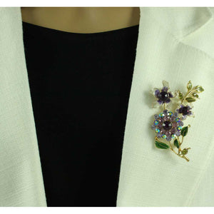 Model with Cream and Purple Enamel and Crystal Flowers Brooch Pin - Lilylin Designs