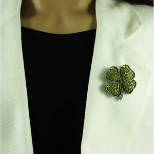 Model with Antique Light Olive Green Crystal 4 Leaf Clover Brooch Pin - Lilylin Designs