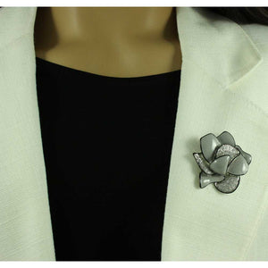 Model with Gray Enamel Crystal Flower Trimmed in Black Brooch Pin - Lilylin Designs