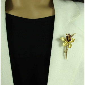Model with Brown and Gold Enamel Crystal Long Stem Flower Brooch Pin - Lilylin Designs
