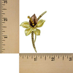 Brown and Gold Enamel Crystal Long Stem Flower Brooch Pin (sized) - Lilylin Designs