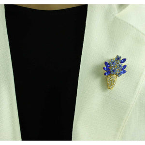 Model with Gold Crystal Vase with Blue Crystal Daisies Flower Brooch Pin - Lilylin Designs