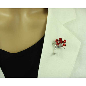 Model with Bouquet of Red Roses Brooch Pin Gift Set